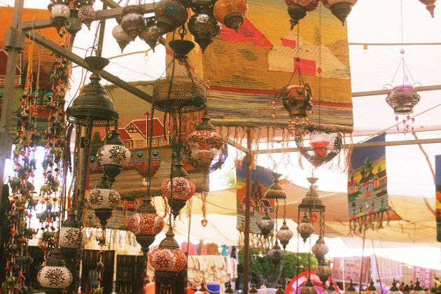 Turkey turkiye fetiye markets bazarr shopping display of lanterns