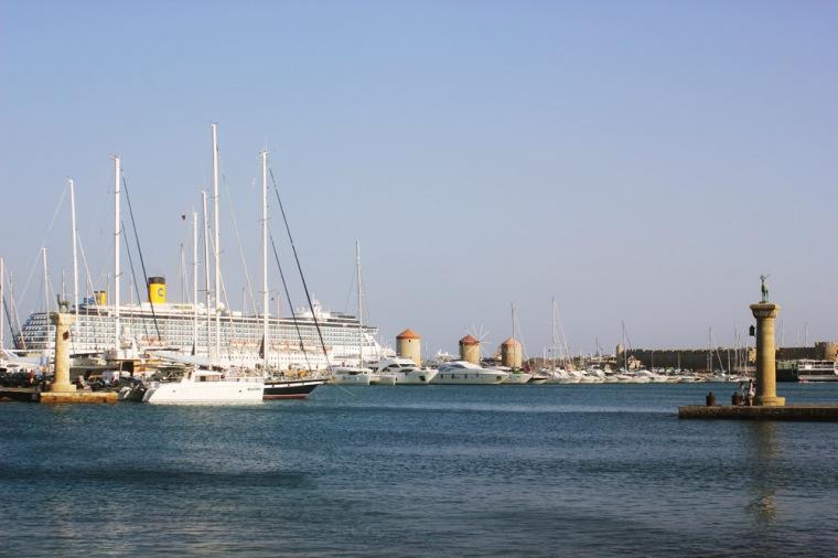 greece harbour colossus rhodes port town exterior
