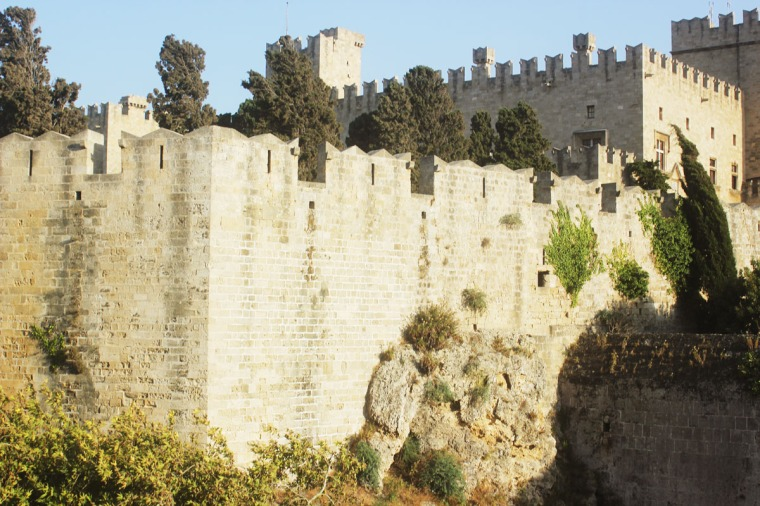 rhodes old town walls exterior cobble streets stone walls day light exterior
