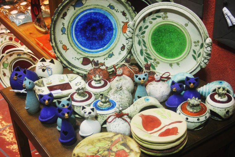 rhodes old town greece castle display shop ceramics bowls cats kitty