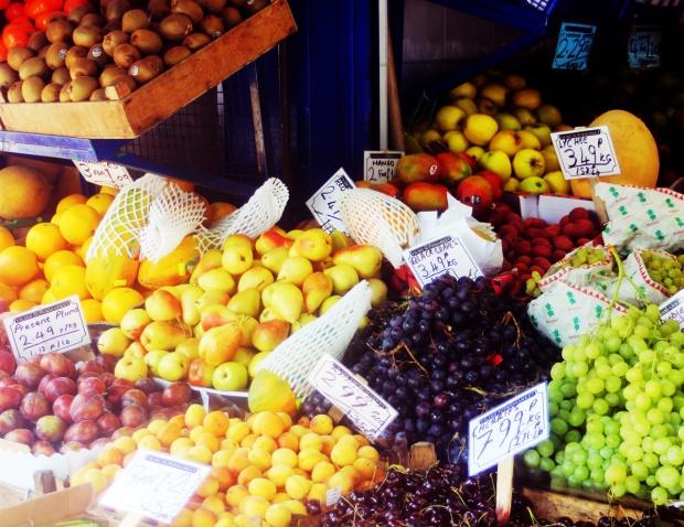 fruit display kentish town tufnell park local fruits vegan vegetarian