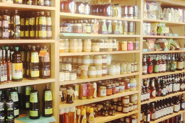 Honey agave nectar display oils jams preserves whole foods earth foods display interior kentish town