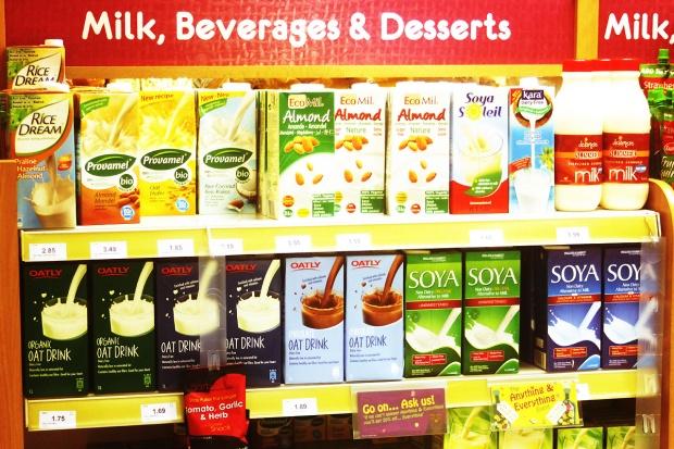 Milk alternatives in Holland & Barratt.