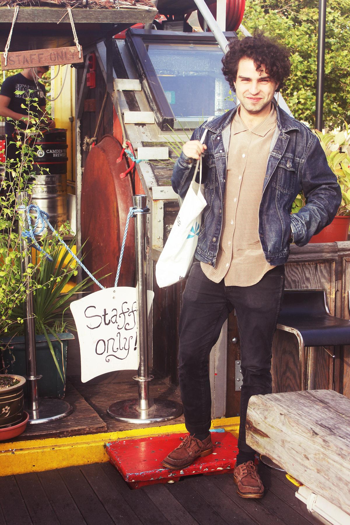 Danilo Tamesis boat dock boy vintage shirt denim jacket outside