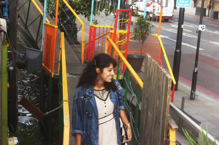 Laila girl dress denim jacket outside