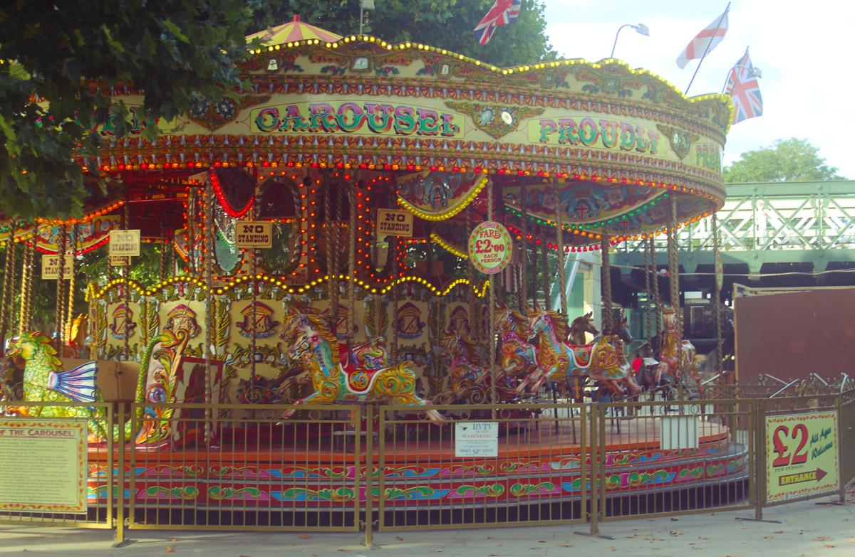carousel south bank painted colours vintage retro lights london