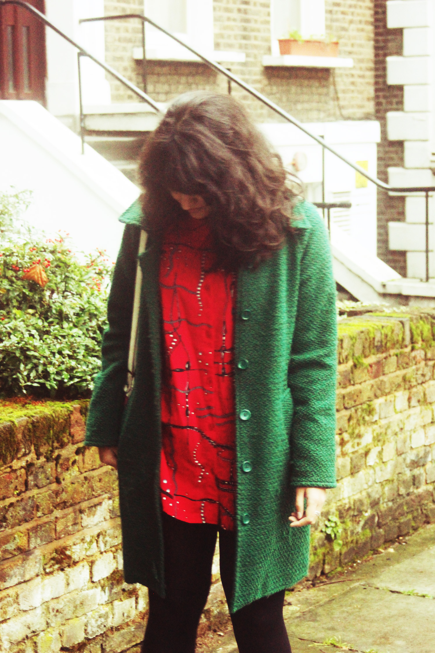 red vintage weird pattern blouse 80s pearls chains kentish town green snufkin coat