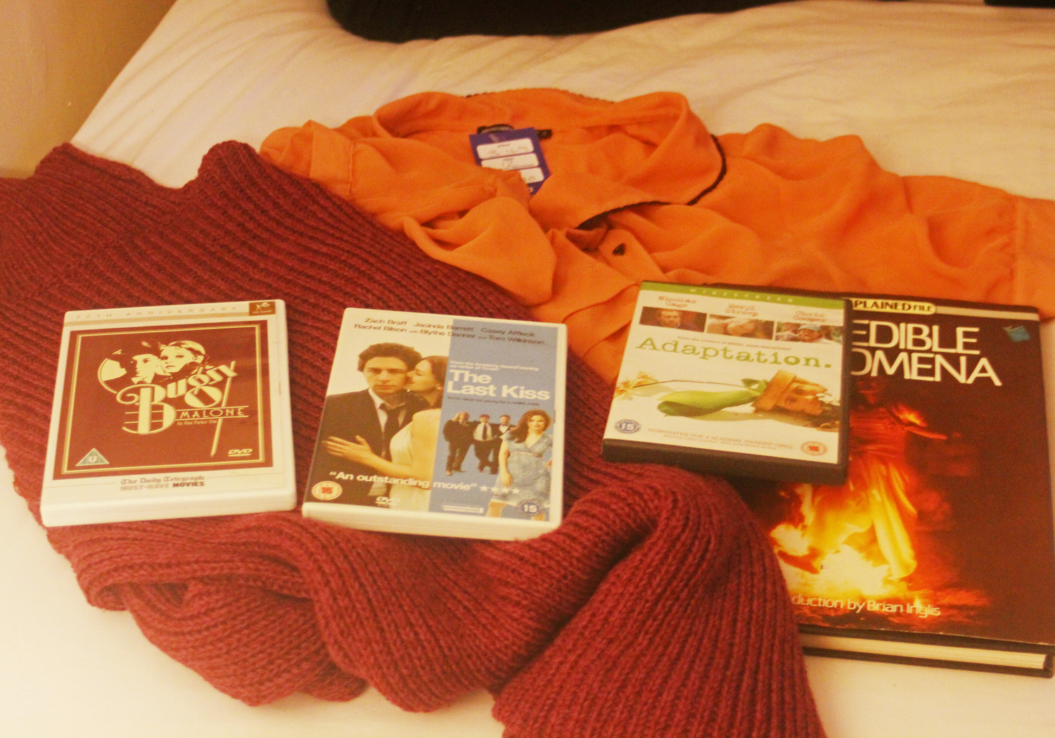 purchases charity shop Kentish Town peach scalloped blouse black edging black buttons DVD The last kiss bugsy malone weird book purple pink turtleneck turtle neck polo neck