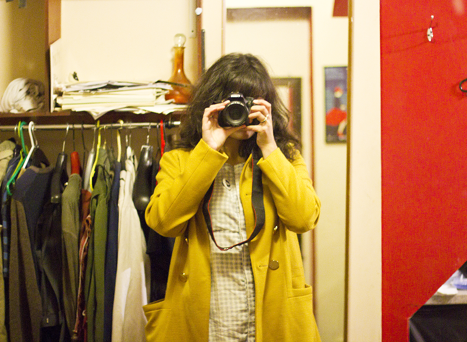 backstage dressing room selfie yellow orla kiely coat