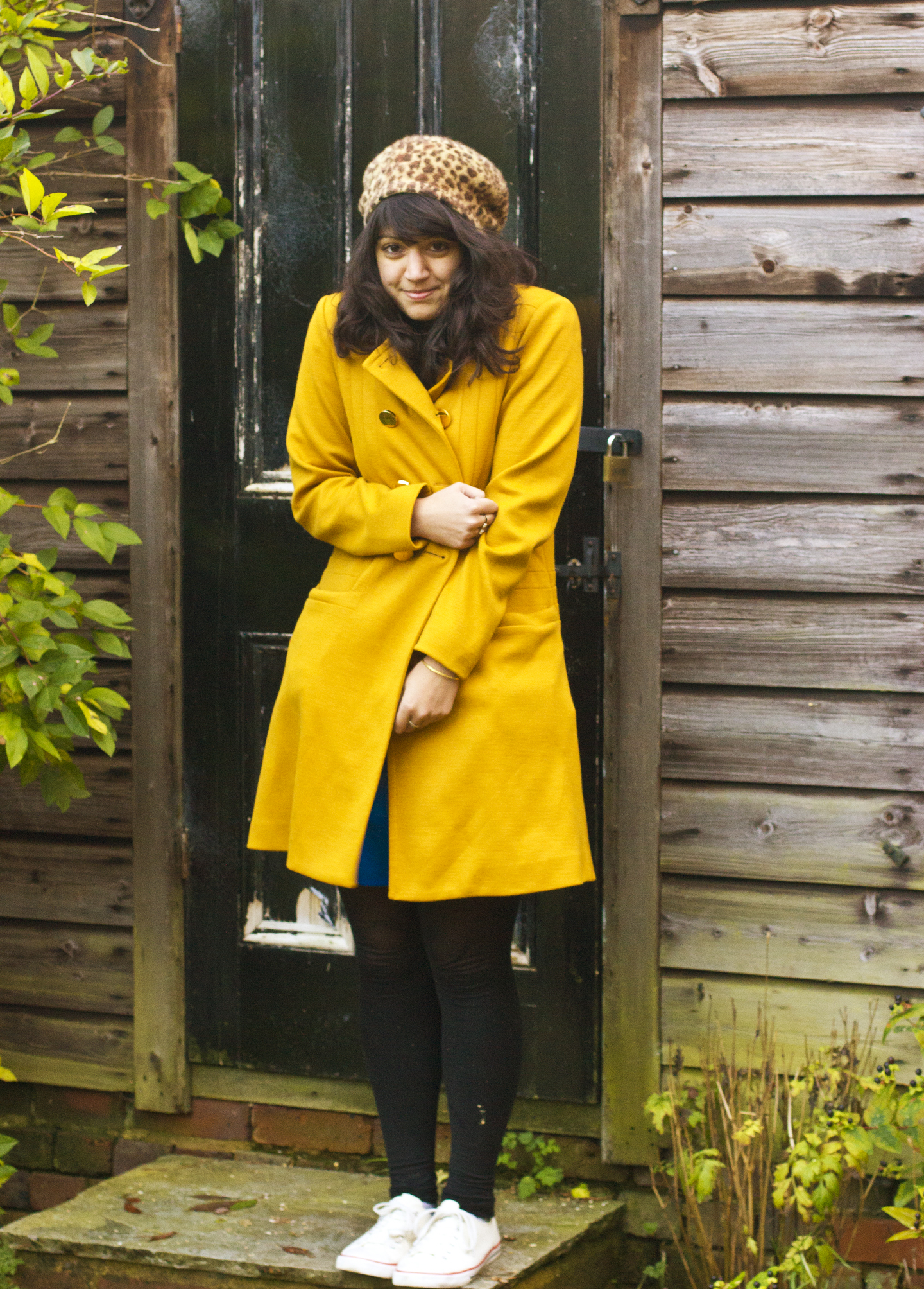 outside shed yellow mustard coat oral kiely beret
