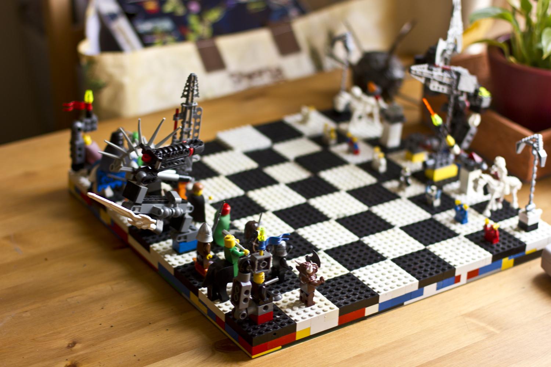 lego men chess board