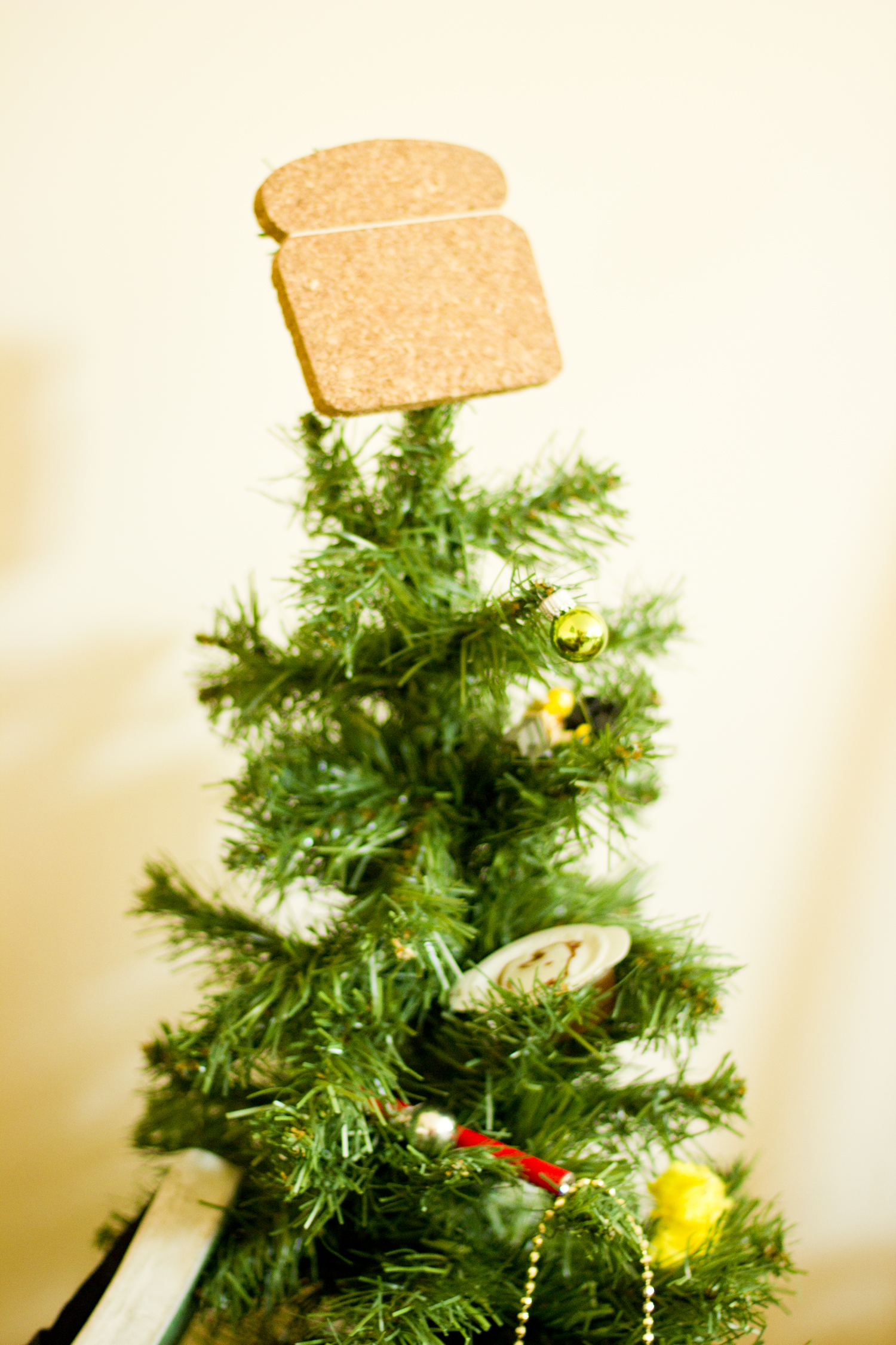 christmas tree with bread and shoe
