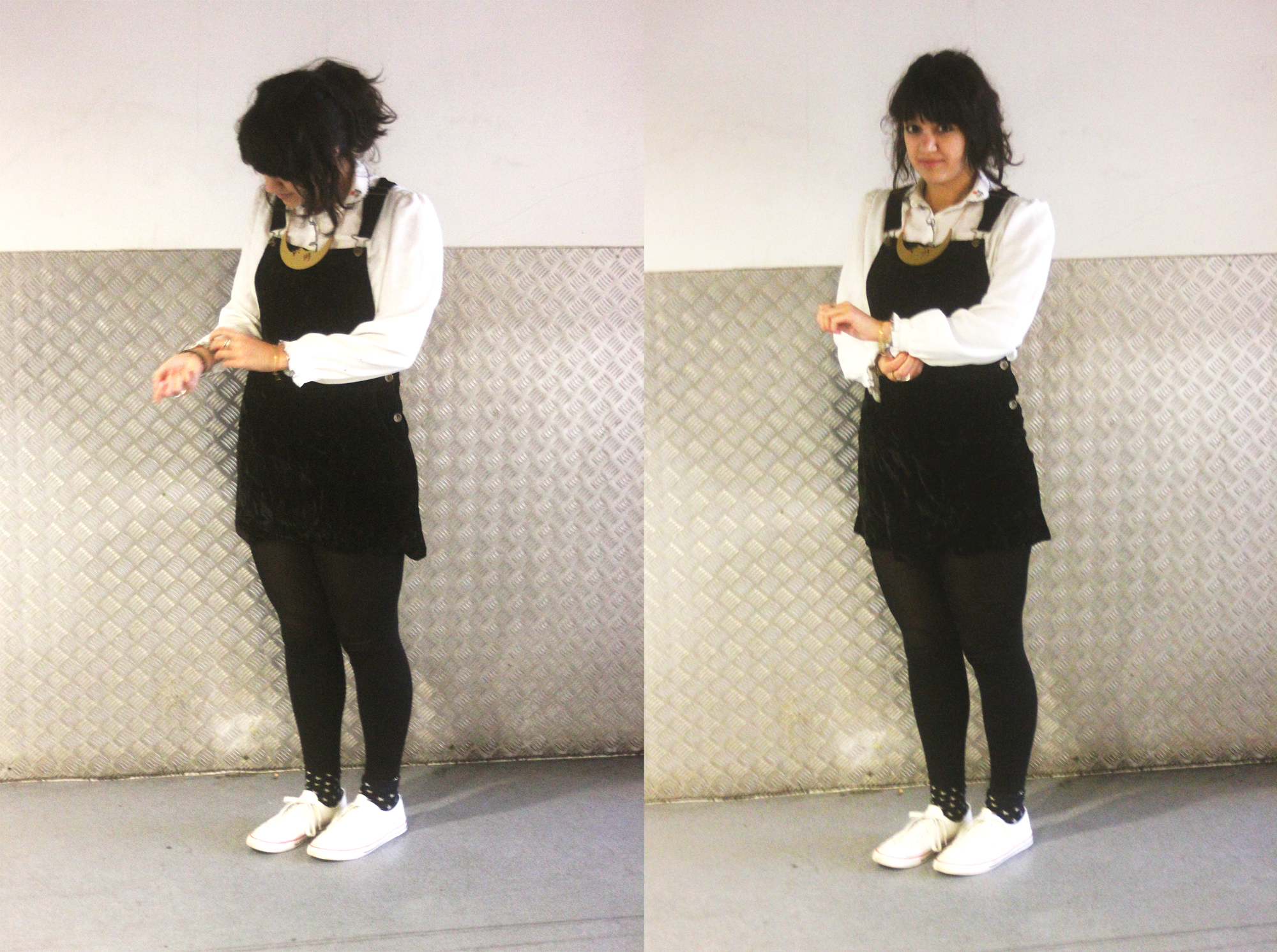 black velvet pinafore dungaree dress black leggings fake white converse gold luna tatty devine moon nektage floral dress dark hair ponytail tape parade