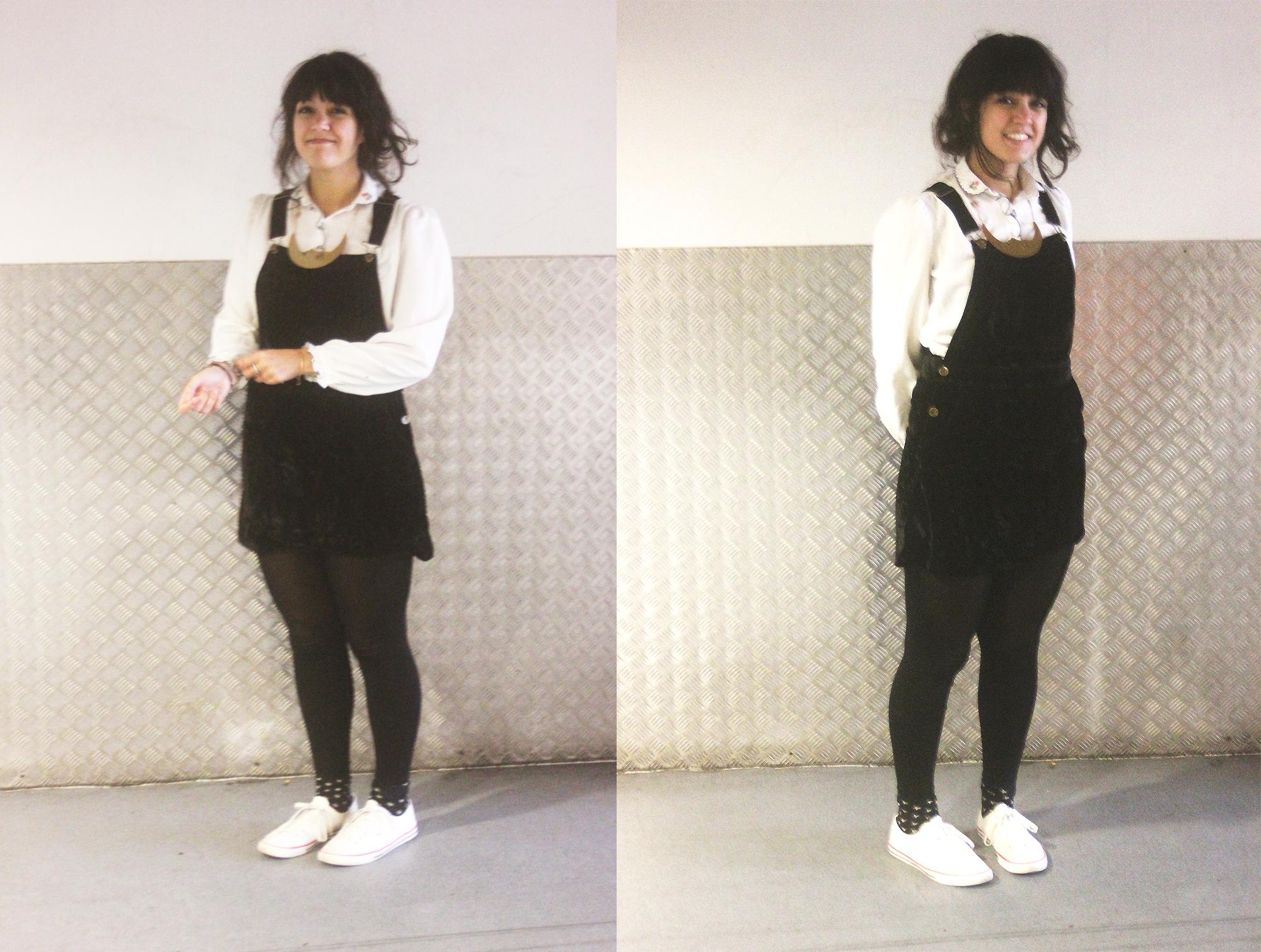 black velvet dress dungaree pinafore floral blouse vintage smiley smile happy girl tape parade laila