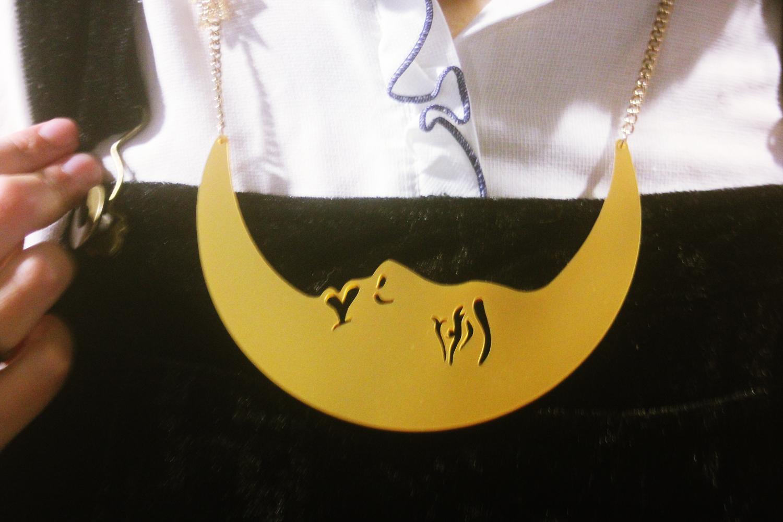 gold luna lune moon tatty devine sailor moon necklace crescent moon face