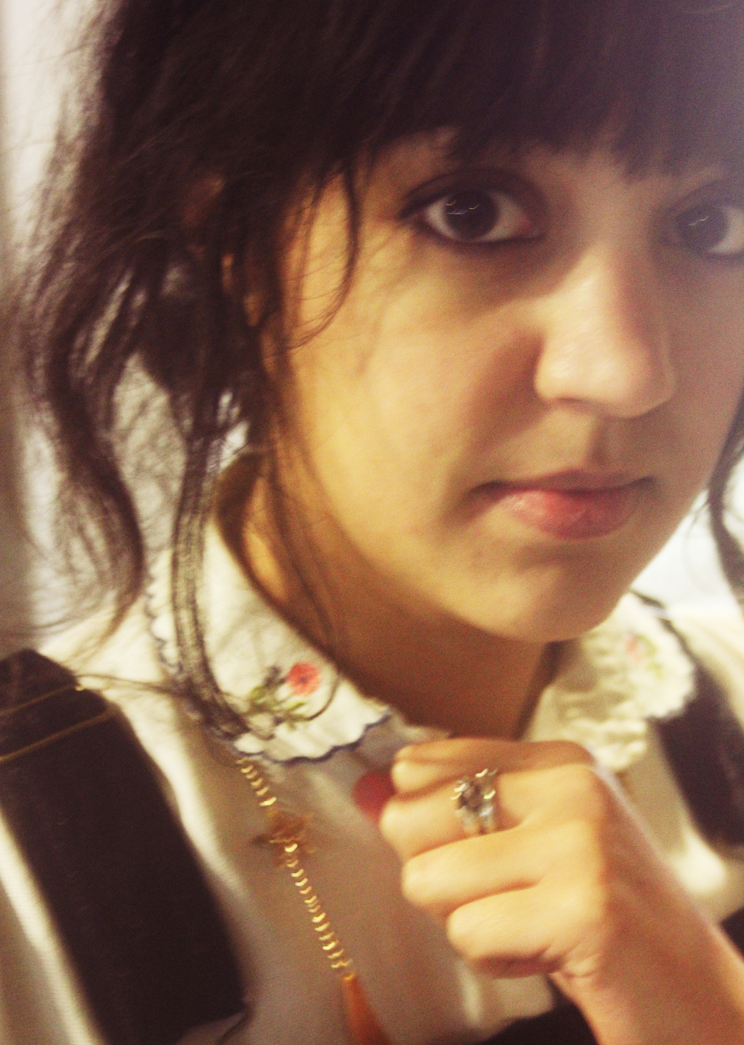 collar blouse detail flowers floral mouse ring silv