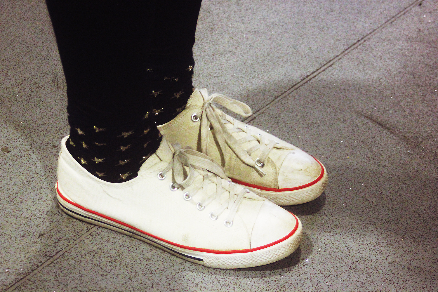 white shoes black and gold starry socks