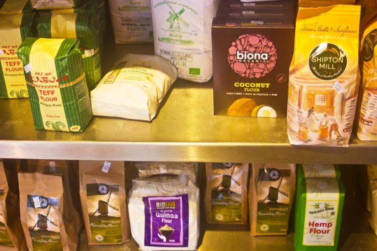 wheat and gluten free flour arrangement display
